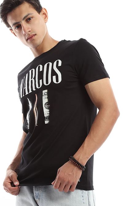 47664 Narcos Printed Rounded Tee - Black