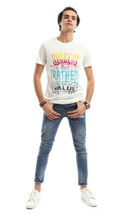 47668 Short Sleeve Off White Printed T-Shirt
