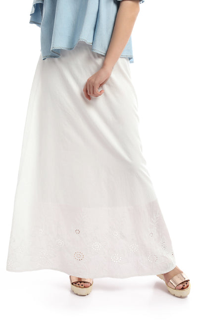 47688 Embroidered Boho Maxi White Skirt