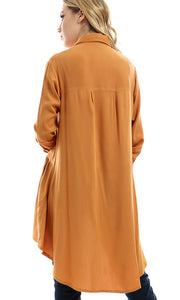 47694 Buttoned Loose Solid Shirt - Dark Mustard