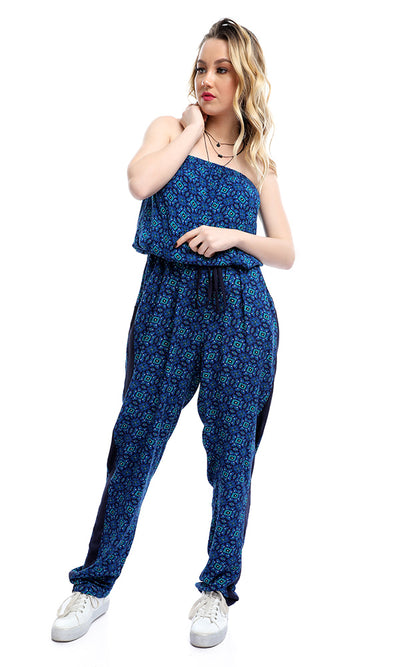 47711 Floral Strapless Elastic Waist Slip On Jumpsuit - Dark Royal Blue