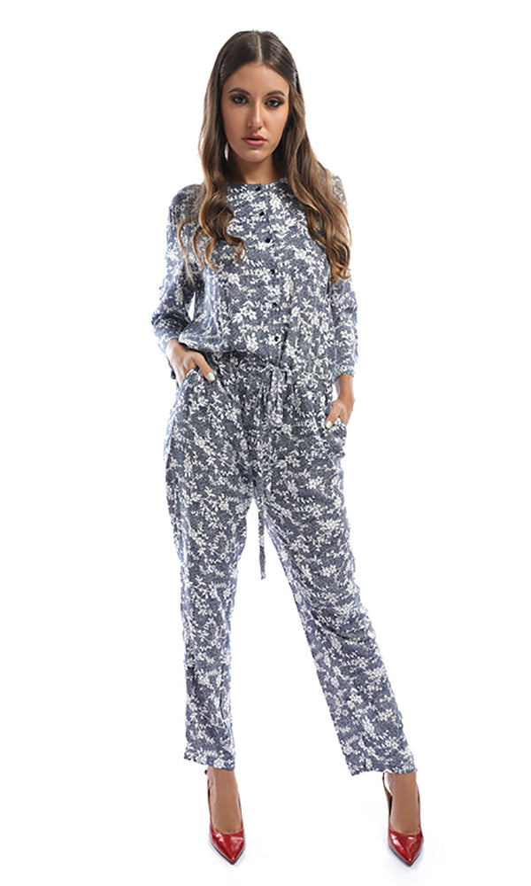 Differential Buttoned Summer Blue Jumpsuit With White Flowers