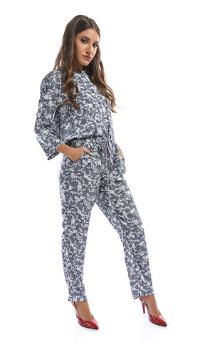 47713 Differential Buttoned Summer Blue Jumpsuit With White Flowers
