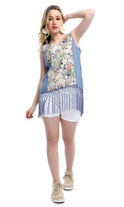 47716 Fringes Front Floral Slip On Casual Sleeveless Top - Cornflower Blue