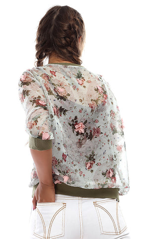 47720 Floral Transparent Casual Blouse - Olive