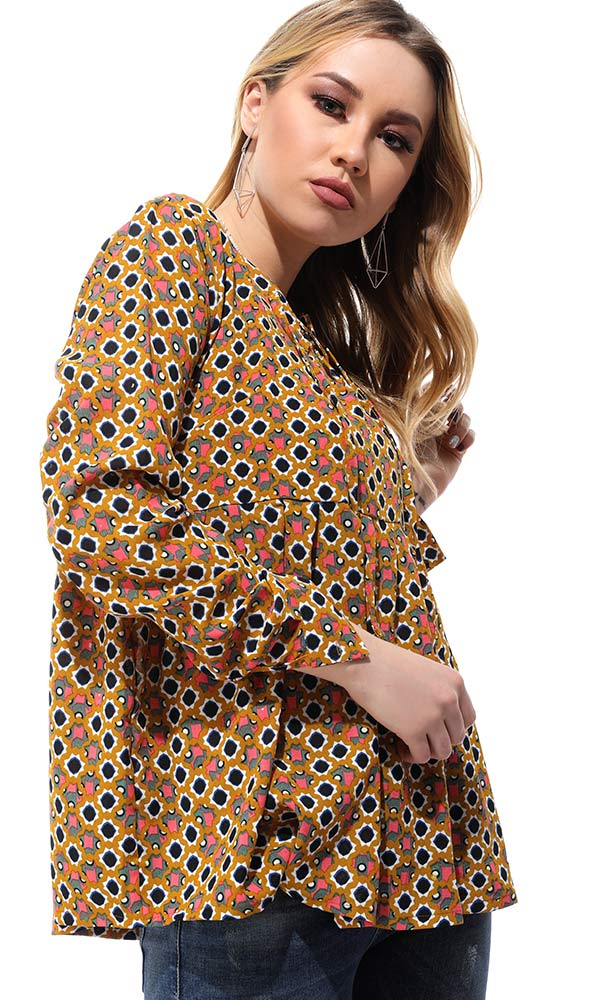 Patterned Loose Slip On Goldenrod Blouse