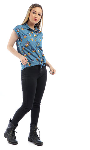 Fashionable Donald Duck Sleeveless Shirt - Blue Jeans