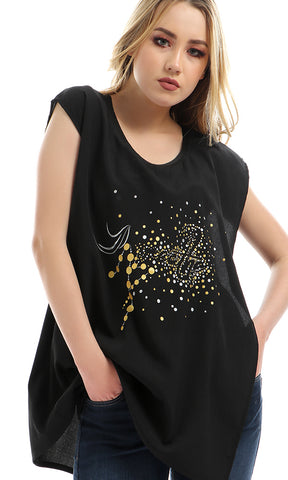 47783 Glittery Printed Patttern Top - Black