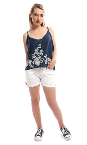 47787 Embroidered Adjustable Strap Navy Blue Top