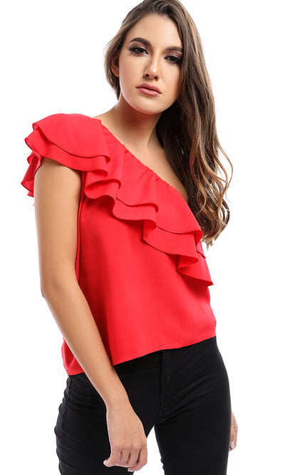 47791 One Shoulder Red Top