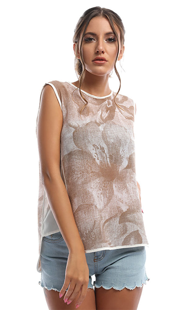 Build Me Up Blush Beige Floral Print Top