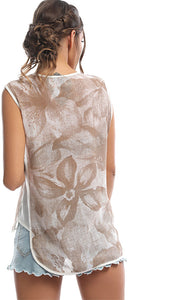 47797 Build Me Up Blush Beige Floral Print Top