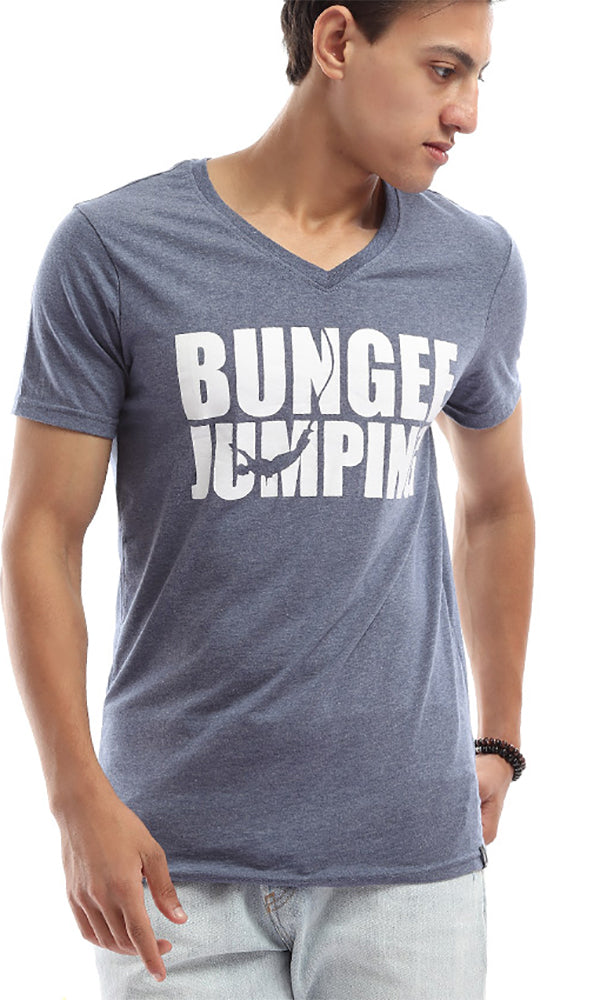 V-Neck Casual '' Bumgee Jumping'' Tee - Blue