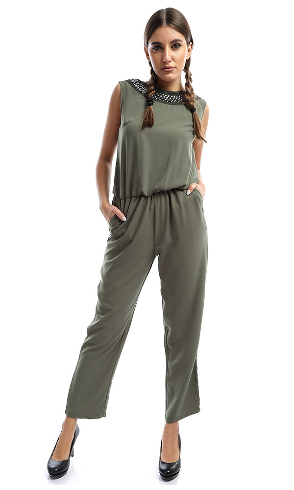Studded Round Neck Dark Olive Jumpsuit