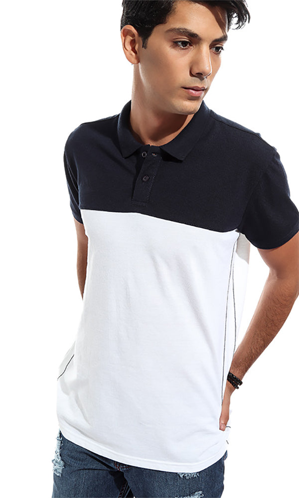 Two Tone Men Polo T-Shirt - White & Navy Blue