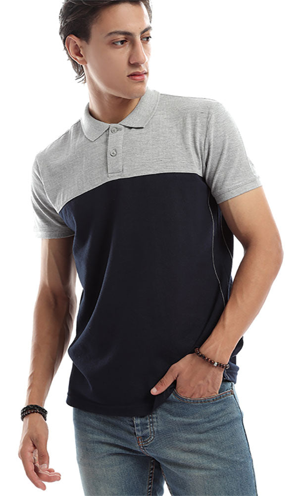 Bi-Tone Casual Polo Shirt Grey & Navy Blue