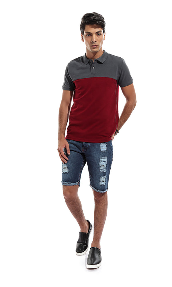 Two Tone Men Polo T-Shirt - Grey & Maroon