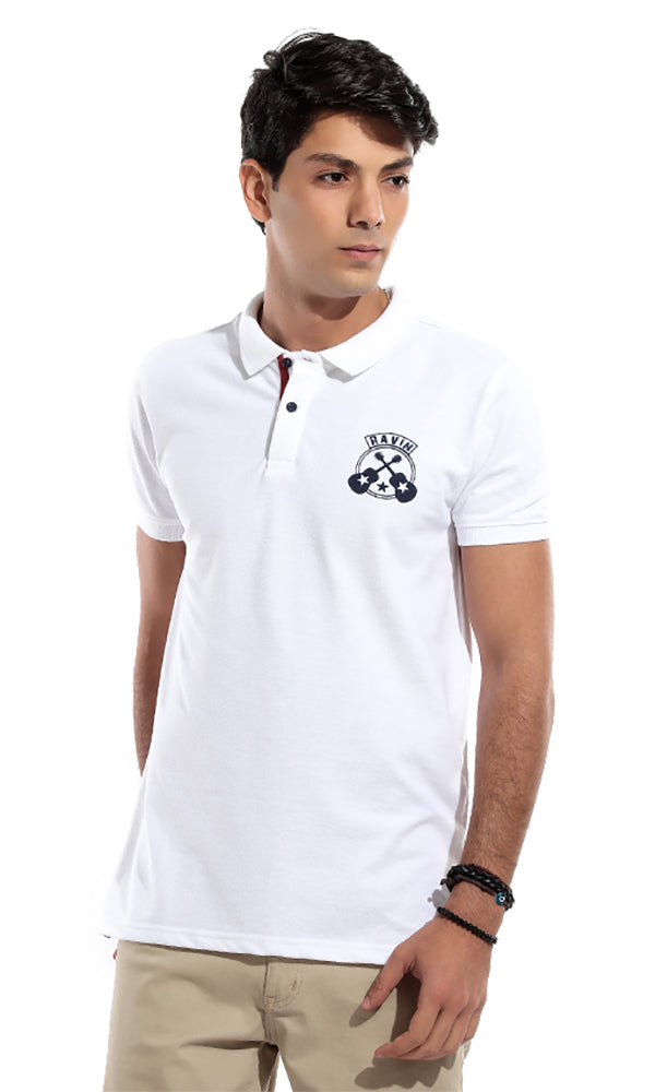 Comfy Printed Polo T-Shirt - White