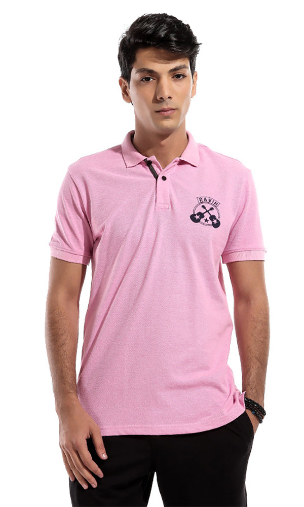 Printed Polo T-Shirt - Pink