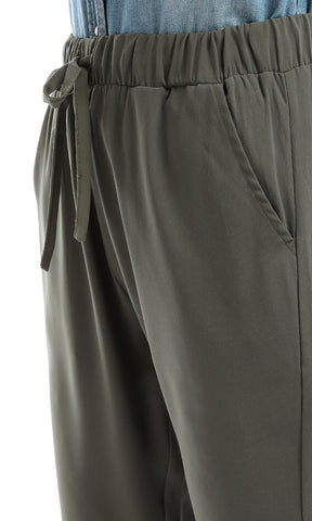 47970 Solid Regular Dark Green Pants