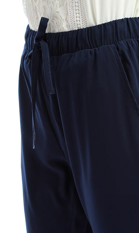 Solid Regular Navy Blue Pants