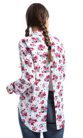 48010 Floral Long Sleeves White & Fuchsia Shirt