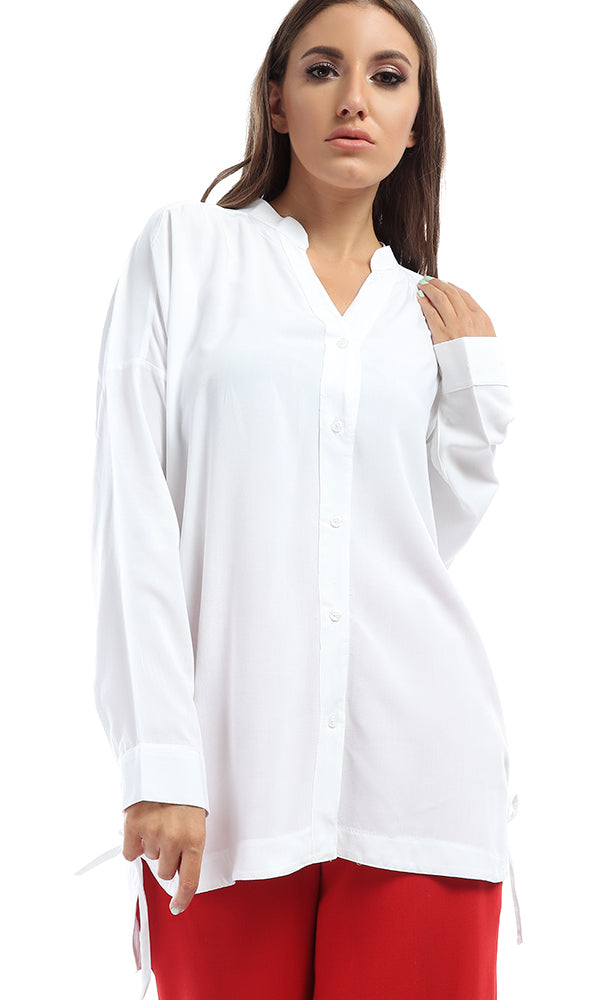 Buttoned Solid Unique Shirt With Side Ties - White