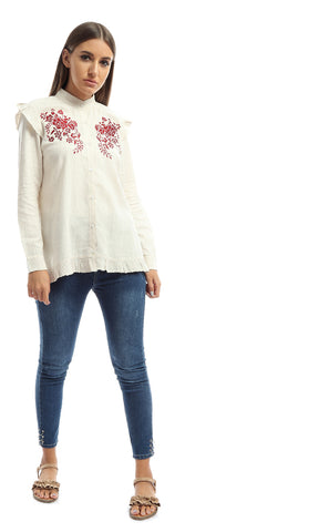 Floral Modern Shirt With Circular End Sleeves - Beige