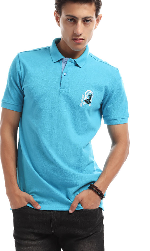 Elegant Slim Fit Polo Shirt - Aqua Blue