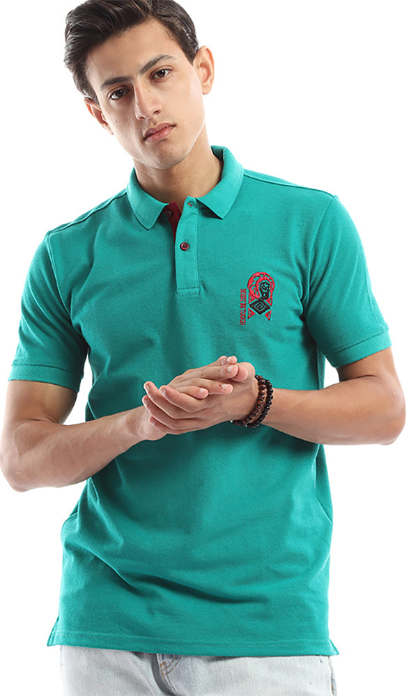 Elegant Slim Fit Polo Shirt - Turquoise