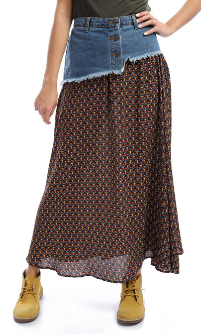 48081 Dark Brown Bi-Tone Patterned Maxi Skirt