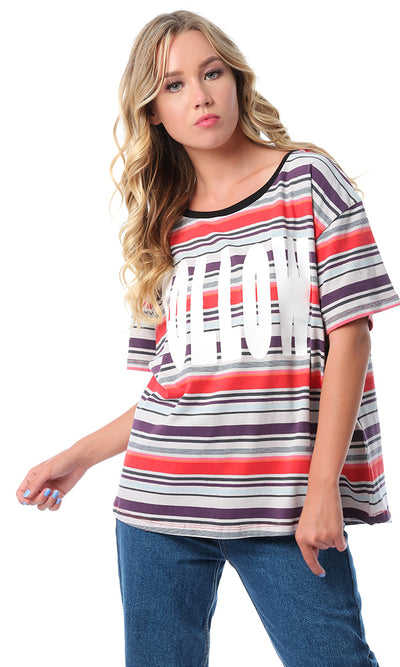 "48112 ""Follow"" Striped Short Sleeves T-shirt - Multicolour"