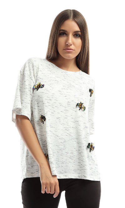 48117 Bee Strassed Casual Top - Heather Off White