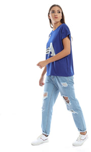 48132 LA Printed Rounded Casual Tee - Blue