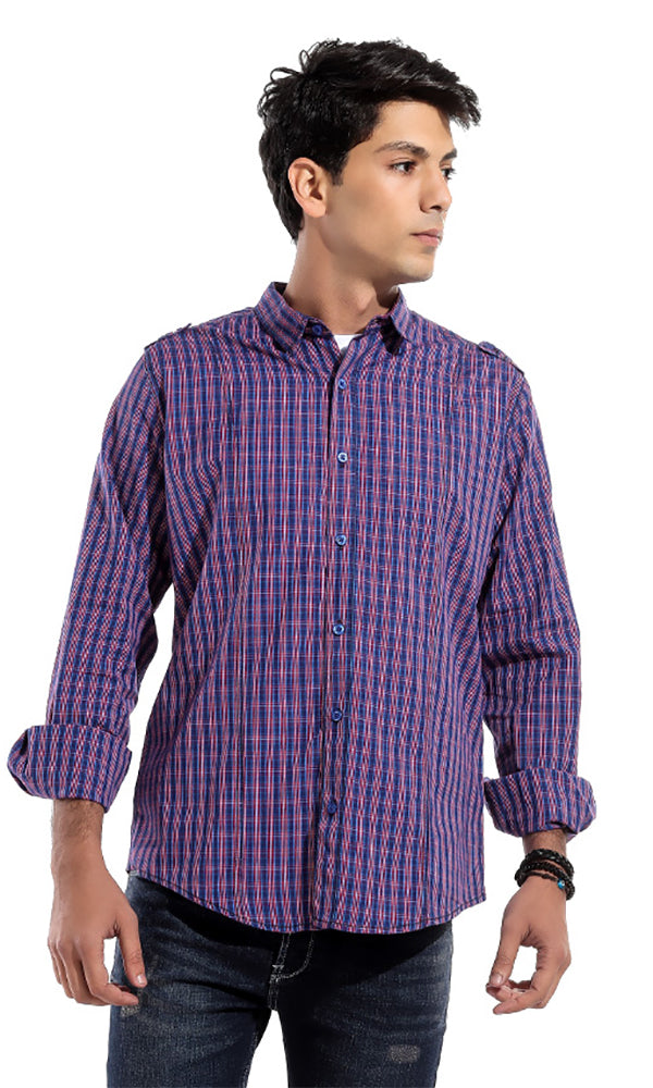 Turned Down Collar Shirt- - Purple