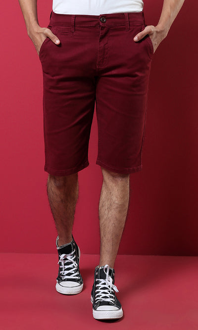 48221 Plain Men Basic Shorts - Maroon Brown