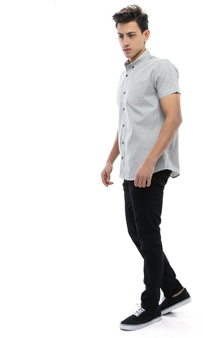 48230 Stitched Dot Short Sleeves Shirt - Light Grey