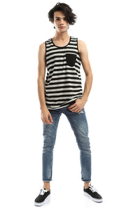 48234 Striped Sleeveless Comfortable Tee - Grey & Black