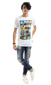 48314 Men White Printed T-Shirt