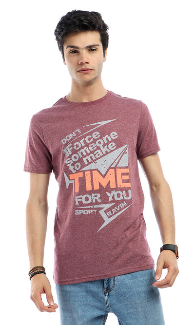 48330 Casual Printed Short Sleeves Heather Burgundy Red T-shirt