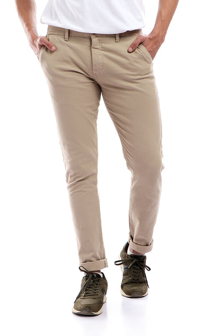 48373 Casual Straight Fit Dark Beige Pants With Belt Loops