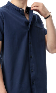 48396 Short Sleeves Solid Men Shirt - Navy Blue
