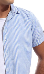 48397 Striped Casual Short Sleeves Buttoned Shirt - Light Blue