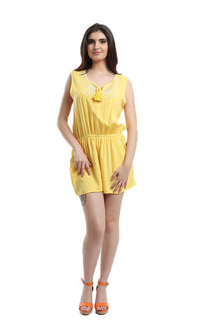 48422 Sleeveless Slip On Decorated Playsuit - Yellow