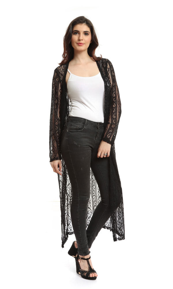 Long Line Lace Cardigan-Long Sleeves