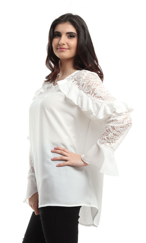 loose shirt-ruffled raglan long lace sleeves-flare end sleeves-round neck-front key hole-beads details