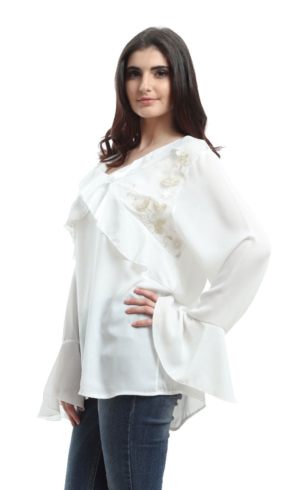 Loose Long Sleeves Shirt-Flare End Sleeves-Ruffled (V)Neck And Chest-Embroideried Lace Yoke
