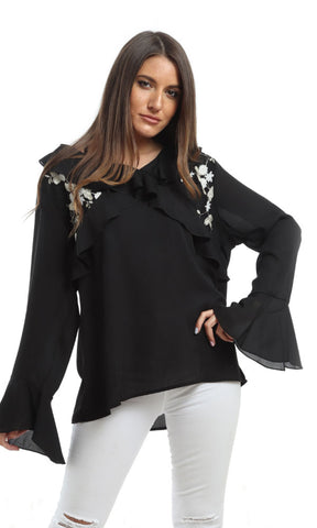 48468 Slip On Ruffles Elegant Blouse - Black