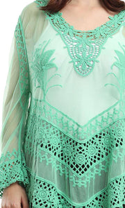 48471 Lace Solid Long Sleeves Top - Green