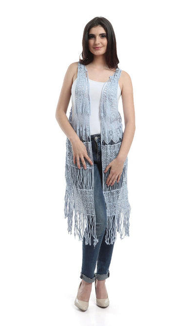 48477 Sleeveless Lace Plain Vest - White